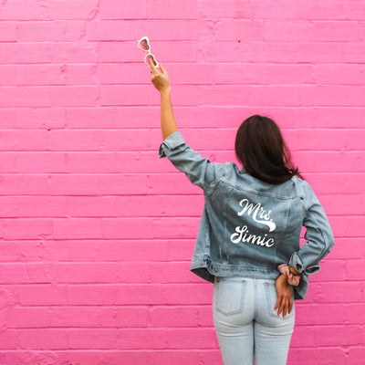 Last Name Denim Jacket, Retro - Sprinkled With Pink #bachelorette #custom #gifts