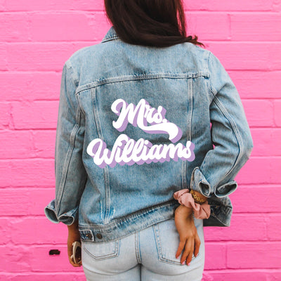 Last Name Denim Jacket, Retro (Double Color)