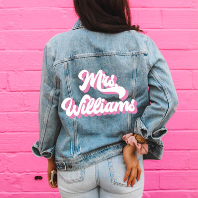 Last Name Denim Jacket, Retro (Double Color) - Sprinkled With Pink #bachelorette #custom #gifts