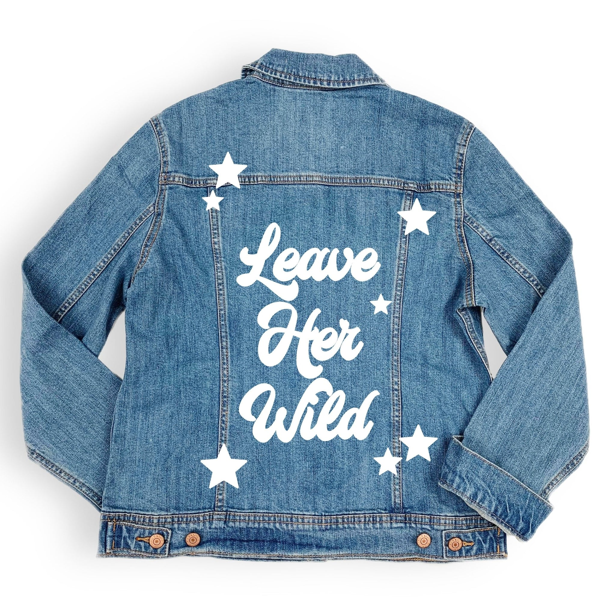 Leave Her Wild Denim Jacket - Sprinkled With Pink #bachelorette #custom #gifts