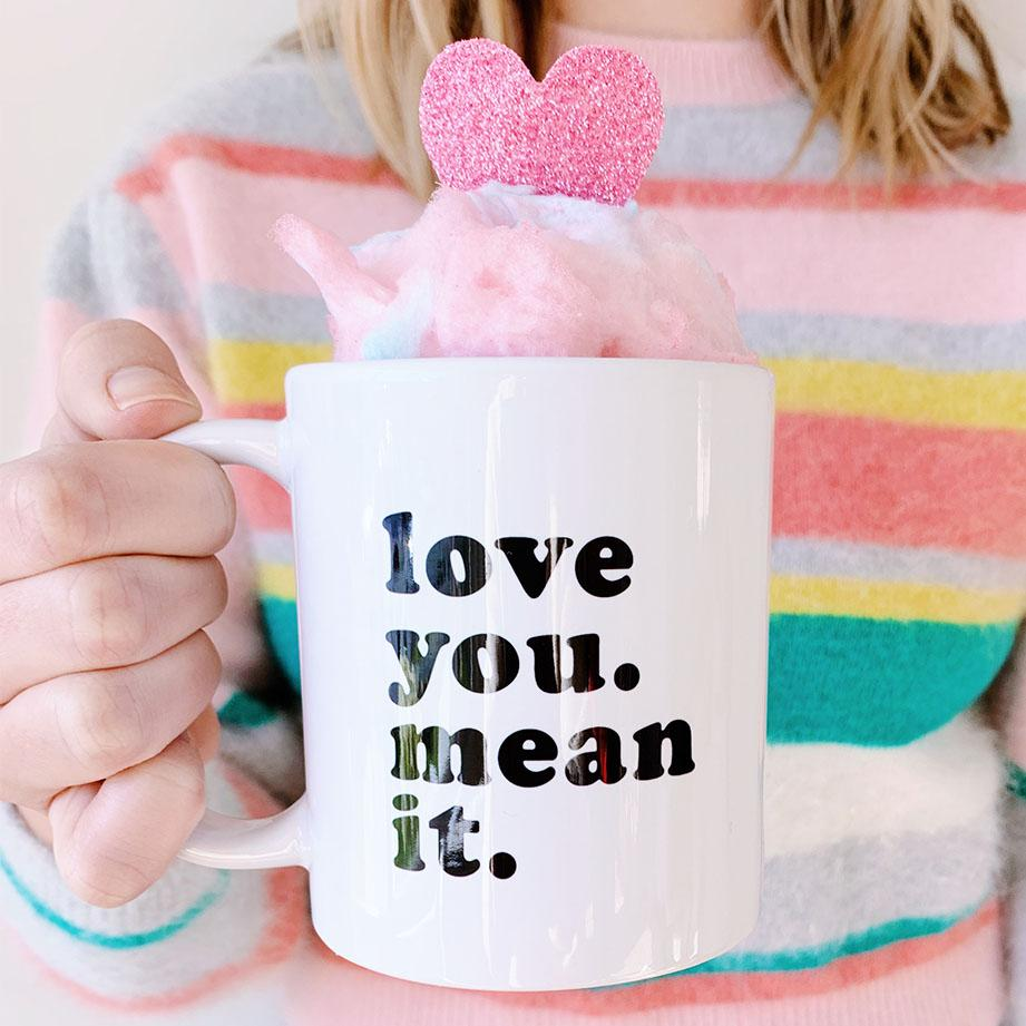 Love You. Mean It. Coffee Mug - Sprinkled With Pink #bachelorette #custom #gifts