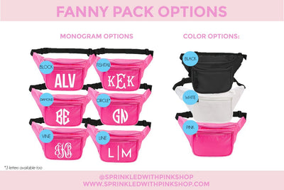 Monogram Fanny Pack - Sprinkled With Pink #bachelorette #custom #gifts