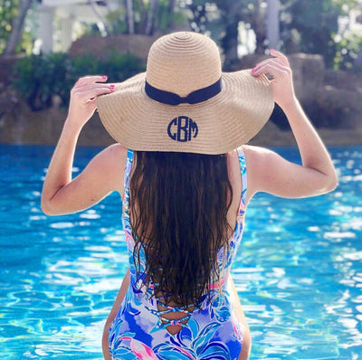 Monogram, Floppy Beach Hat - Sprinkled With Pink #bachelorette #custom #gifts
