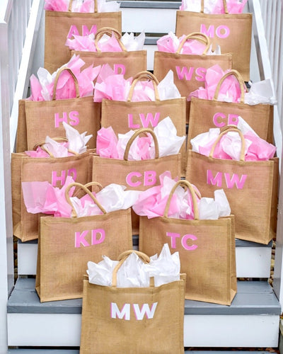 Monogram Jute Carryall - Sprinkled With Pink #bachelorette #custom #gifts