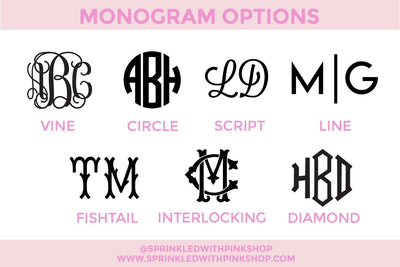 Monogram Luggage Tag - Sprinkled With Pink #bachelorette #custom #gifts