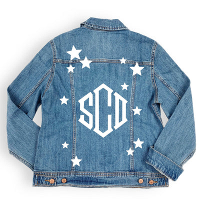 Monogram Star Denim Jacket - Sprinkled With Pink #bachelorette #custom #gifts