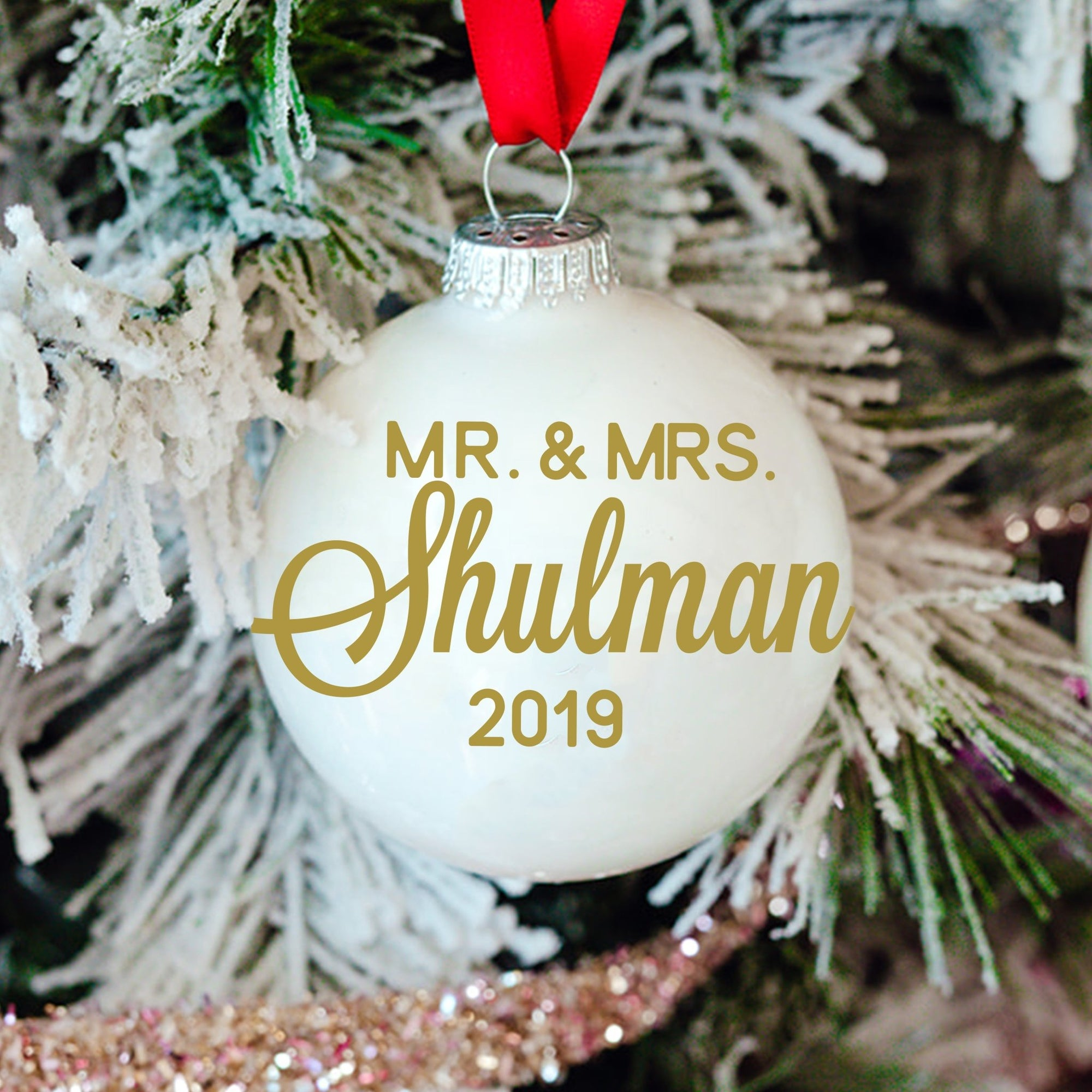 Mr and Mrs Last Name + Year Ornament