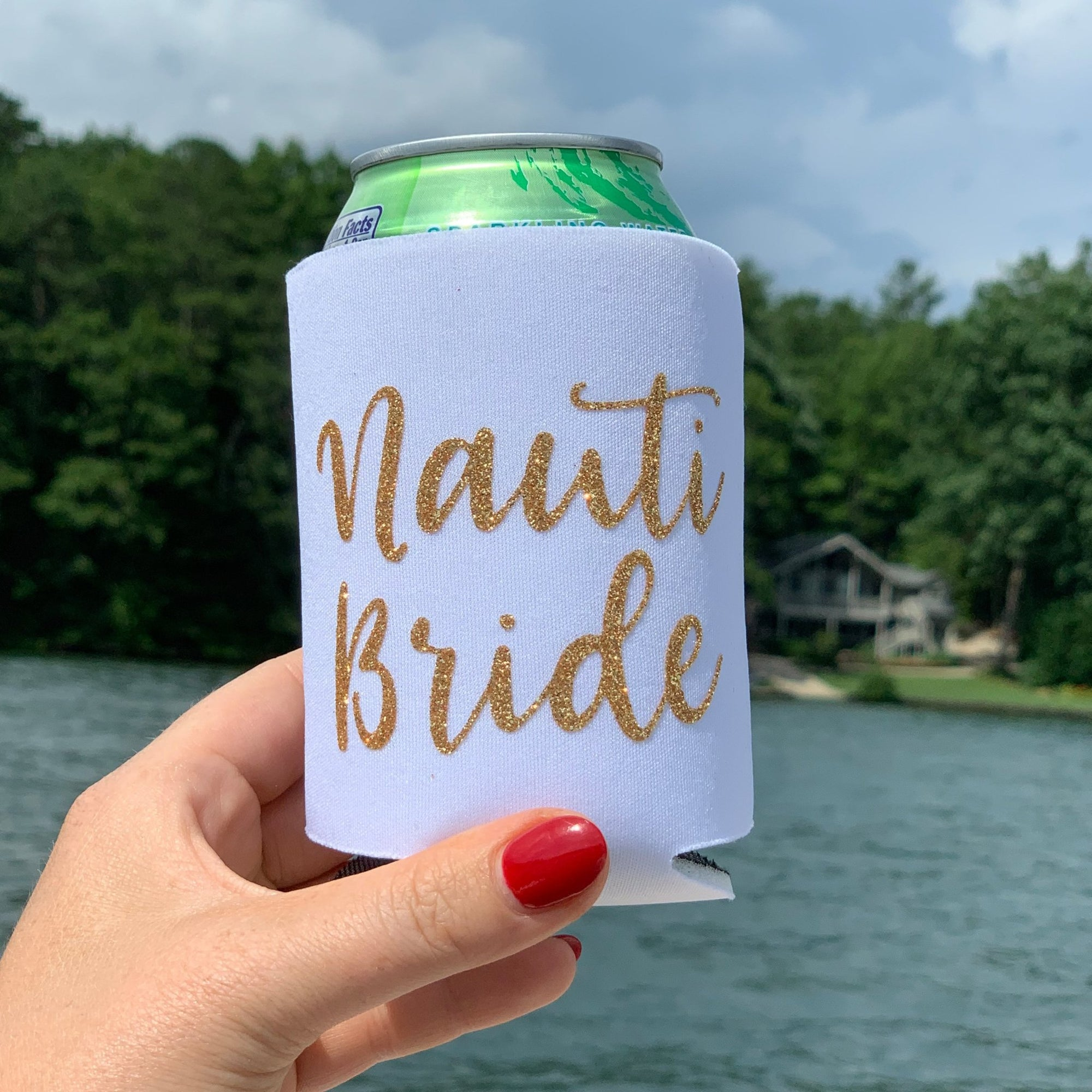 Nauti Bride Can Cooler - Sprinkled With Pink #bachelorette #custom #gifts