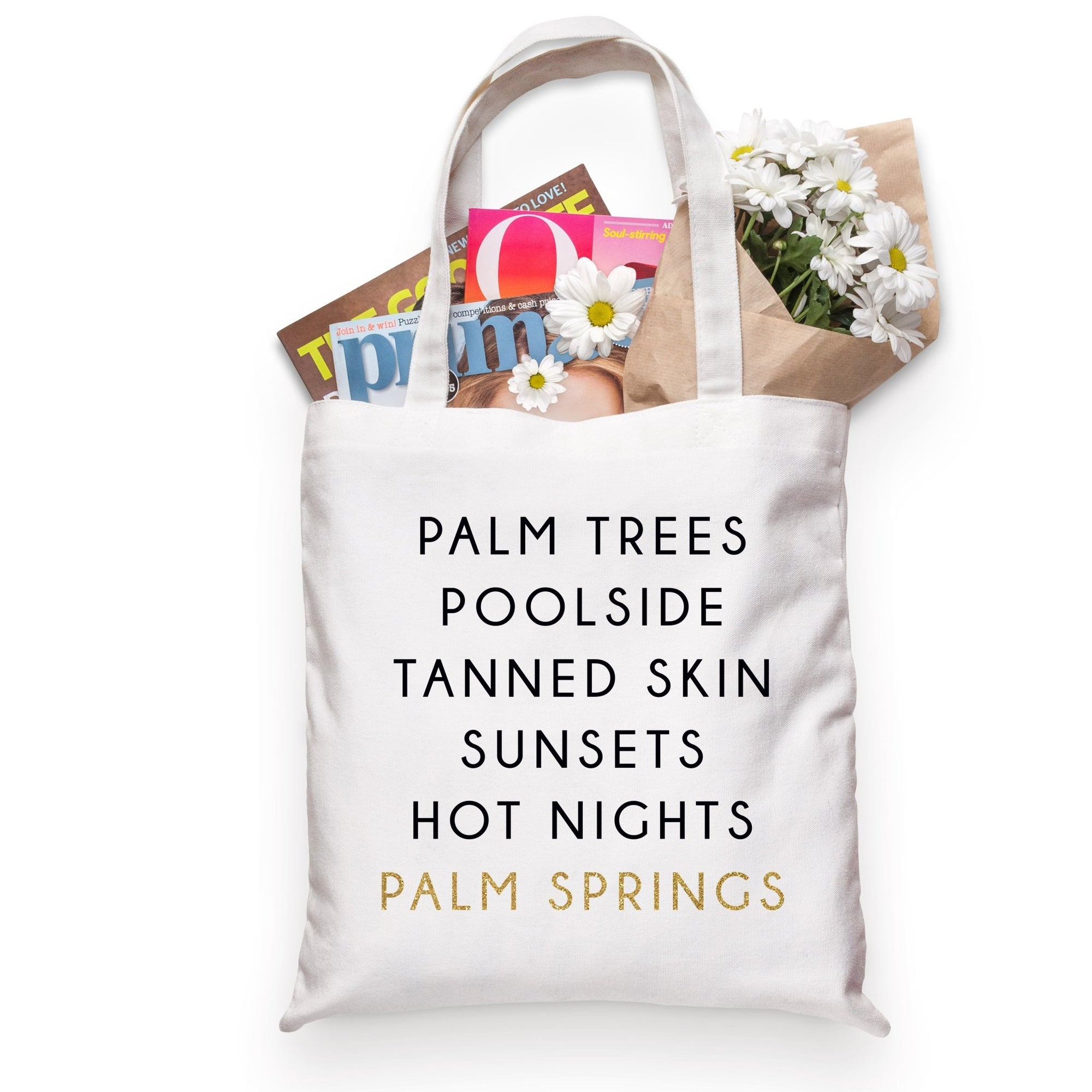 Palm Springs City Tote - Sprinkled With Pink #bachelorette #custom #gifts
