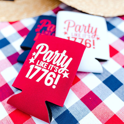 Party Like it's 1776 Can Cooler - Sprinkled With Pink #bachelorette #custom #gifts