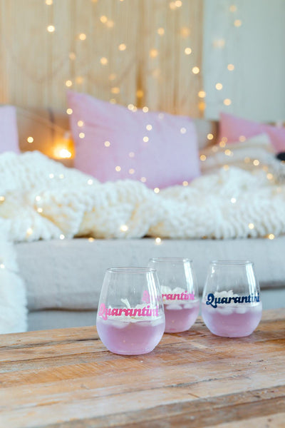 Quarantini Acrylic Stemless Tumbler - Sprinkled With Pink #bachelorette #custom #gifts