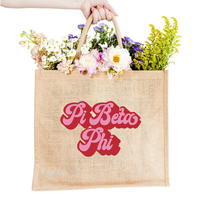 Retro Sorority Jute Carryall - Colors - Sprinkled With Pink #bachelorette #custom #gifts
