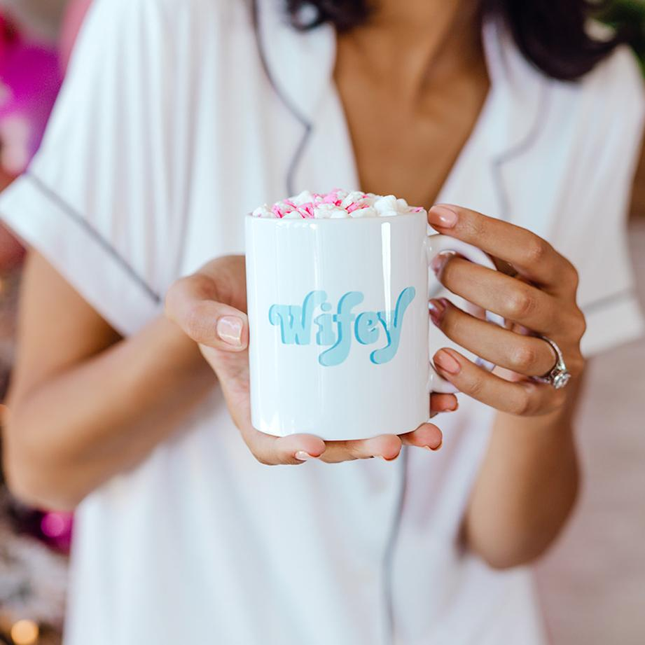 Retro Wifey & Bride Squad Mug - Sprinkled With Pink #bachelorette #custom #gifts