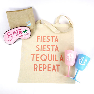 Siesta then Fiesta Sleep Mask - Sprinkled With Pink #bachelorette #custom #gifts