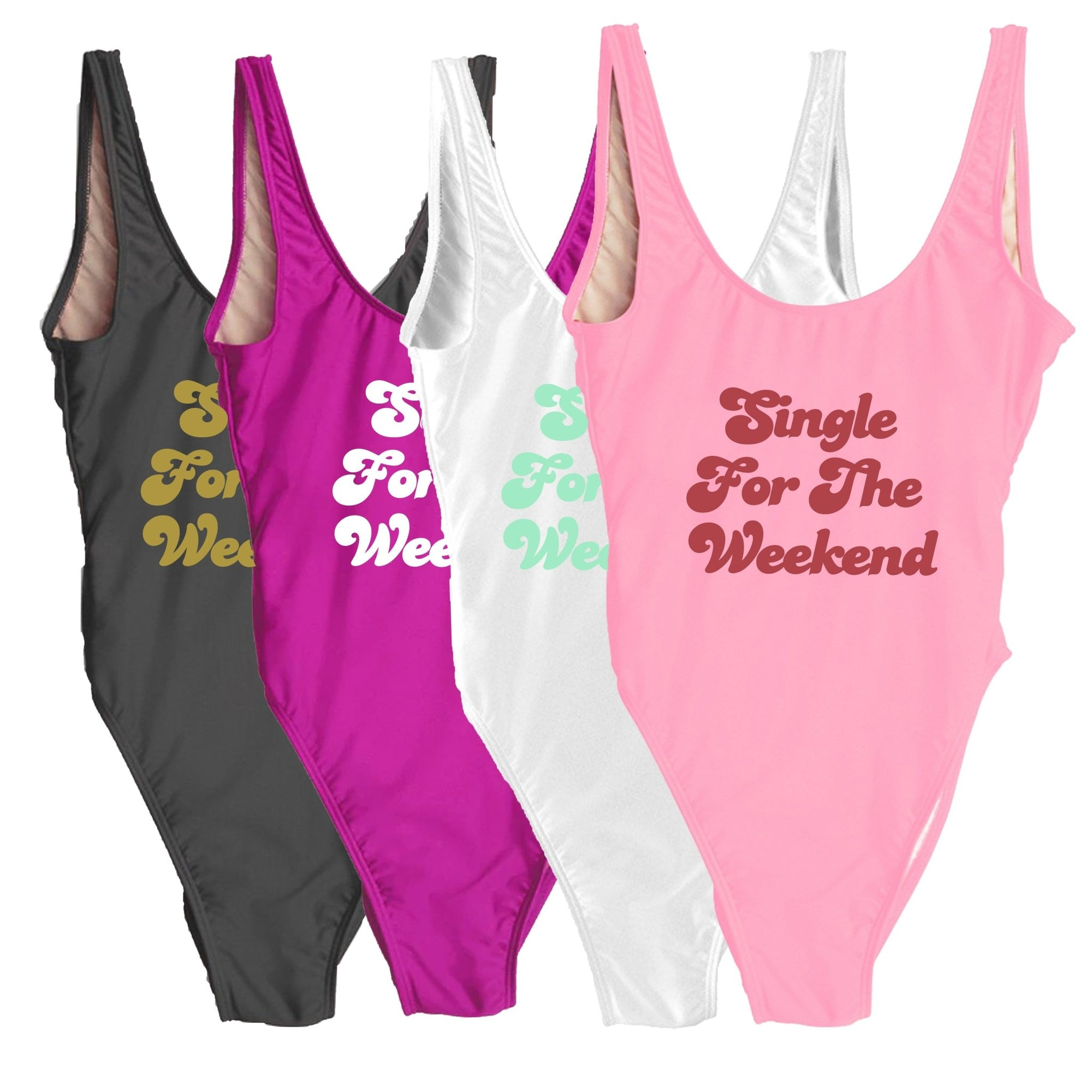 Single For The Weekend Swimsuit - Sprinkled With Pink #bachelorette #custom #gifts