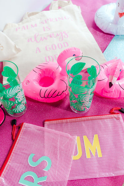 Small Custom Pool Bag - Sprinkled With Pink #bachelorette #custom #gifts