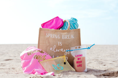 Spring Break Is Always A good Idea Jute Carryall - Sprinkled With Pink #bachelorette #custom #gifts