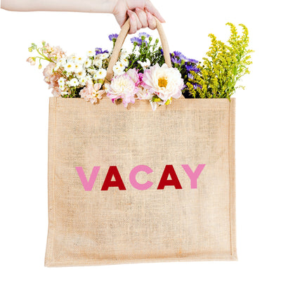 Vacay Jute Carryall - Sprinkled With Pink #bachelorette #custom #gifts