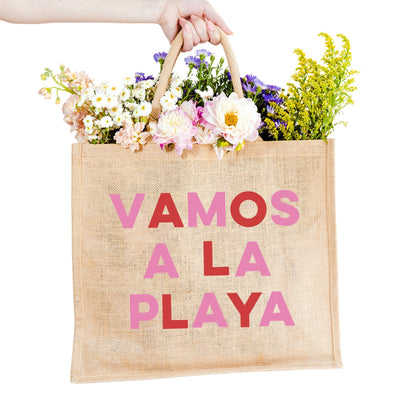 Vamos a la Playa Jute Carryall - Sprinkled With Pink #bachelorette #custom #gifts