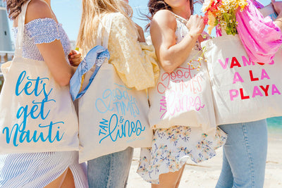 Vamos A La Playa Tote - Sprinkled With Pink #bachelorette #custom #gifts