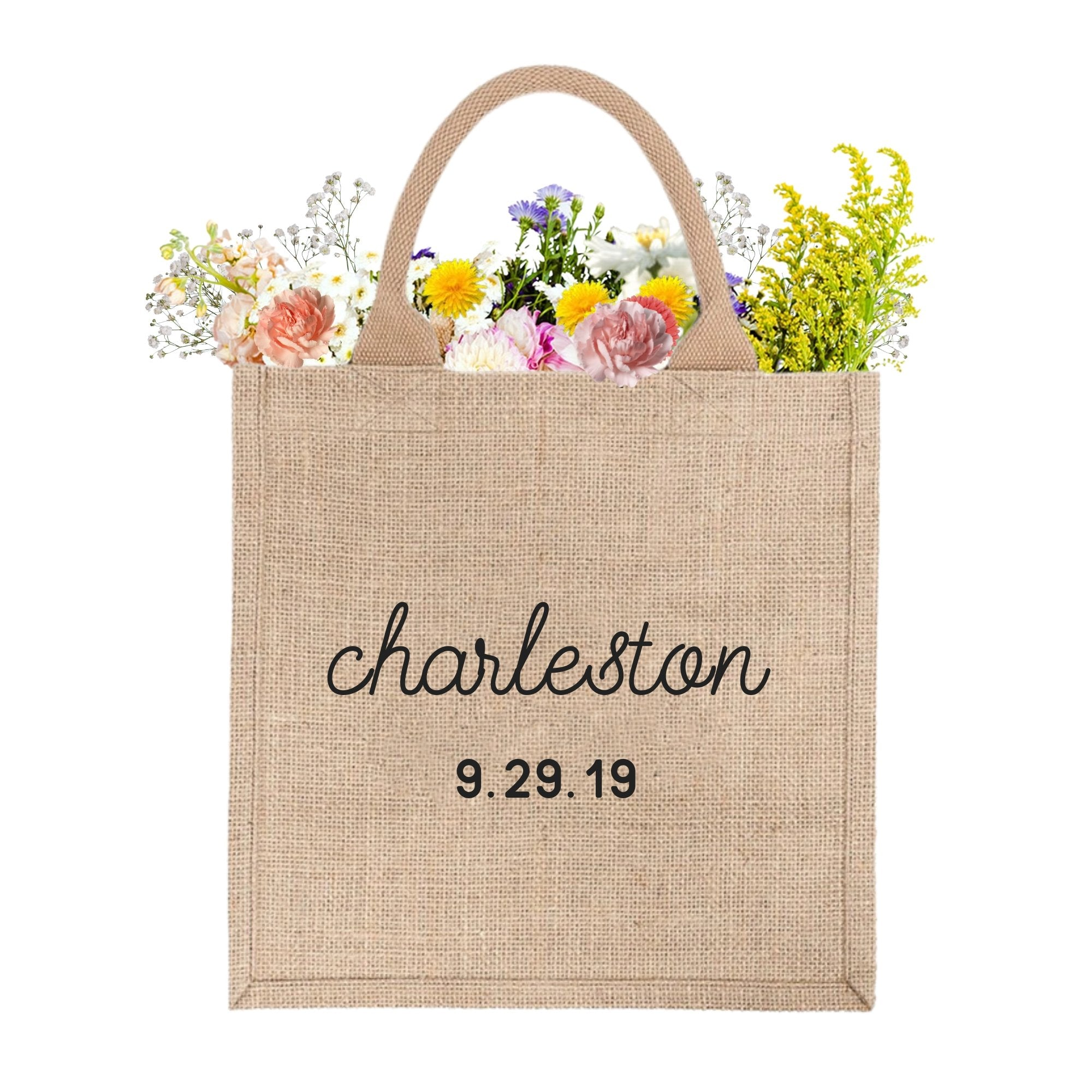 Welcome Bag - Custom City & Date, Jute Tote - Sprinkled With Pink #bachelorette #custom #gifts