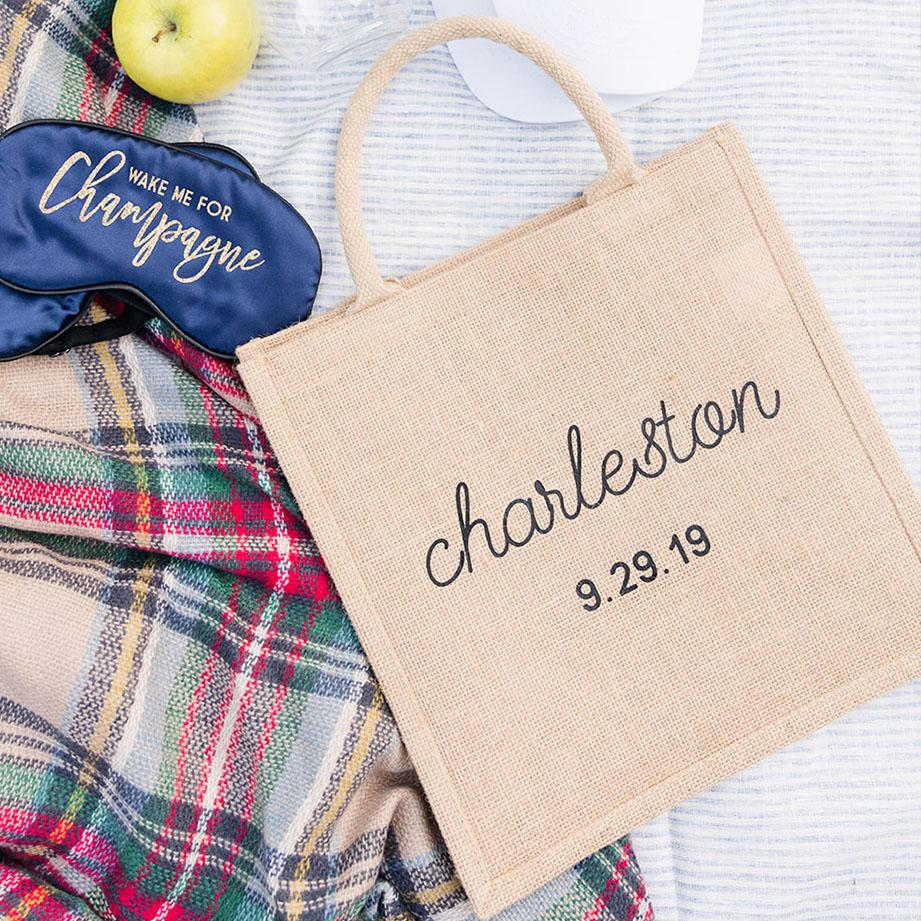 Welcome Bag - Custom City & Date, Jute Tote