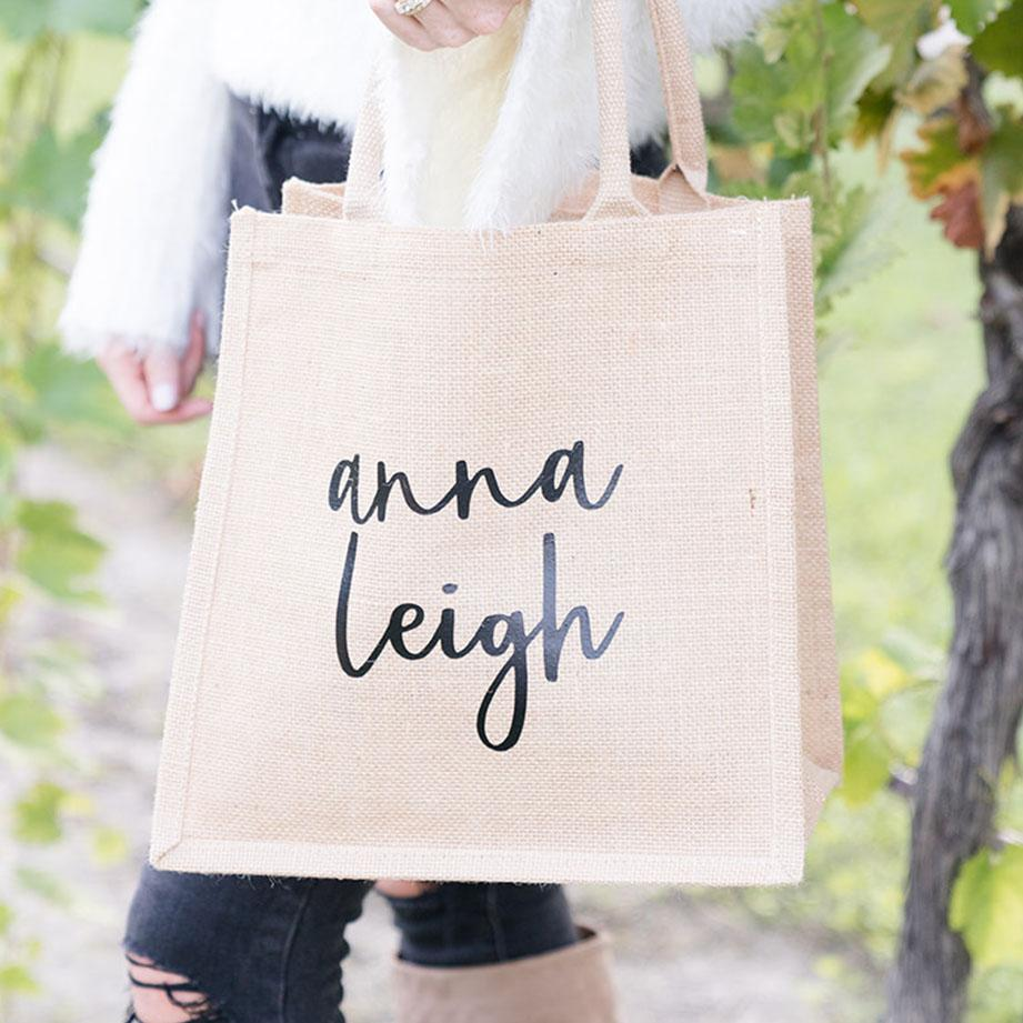 Welcome Bag - Custom Name, Jute Tote - Sprinkled With Pink #bachelorette #custom #gifts