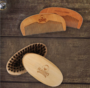Boar Bristle Beard Brush & Peach Wood Comb Set - Beard Comb, Growth oil, Brushes,  trimmer & Wax
