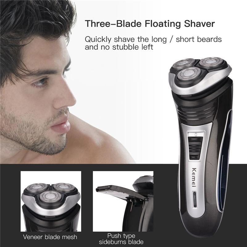 Triple Head Rechargeable Electric Shaver - Beard Comb, Growth oil, Brushes,  trimmer & Wax