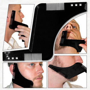 Beard Shaper Styling Template - Macho Groom - Beard Comb, Growth oil, Brushes,  trimmer & Wax