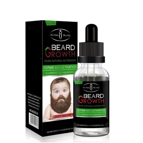 Natural Organic Beard Growth Oil 30ml - Beard Comb, Growth oil, Brushes,  trimmer & Wax
