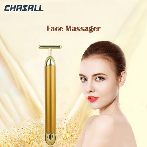 Aio face slimming 24k gold color vibration roller anti wrinkle dark circle remove