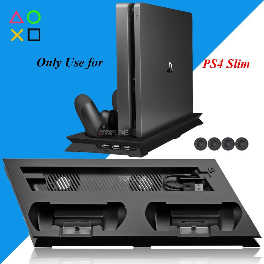 PS4 Slim Vertical Stand with Cooler Cooling Fan Controller Charger Charging
