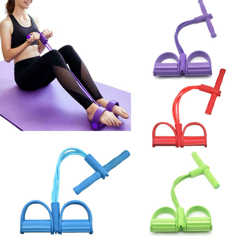 4 Tubes Strong Fitness Resistance Bands PedalSit- up