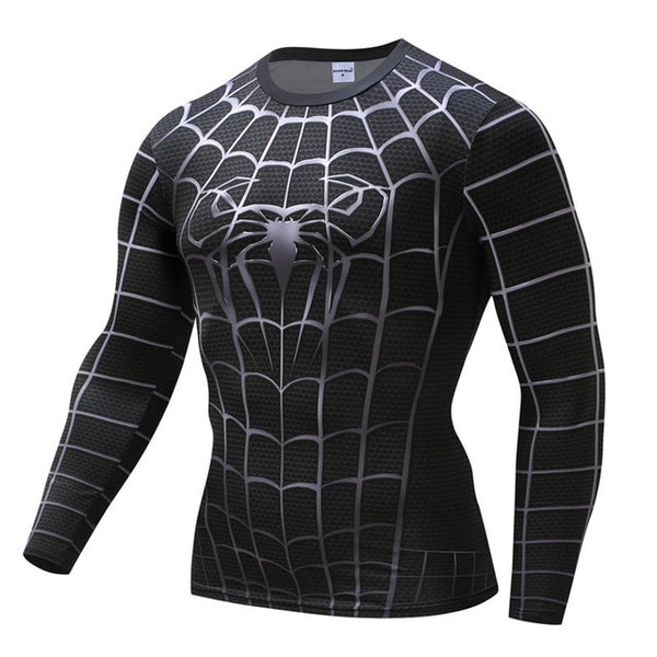 Black-Spider-Armor Men Cosplay Dry Fitness tee(FREE SHIPPING)