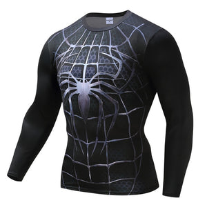 Black-Spider-Armor Men Cosplay Dry Fitness tee