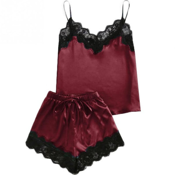 AIO Elegant Lace Satin Spaghetti Strap Sleepwear Top + Shorts Pajamas Set