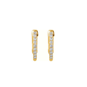Diamond Earring Hoops, 0.25 Carat Total Weight in 14k White, Yellow or Rose Gold - Talisman Collection Fine Jewelers