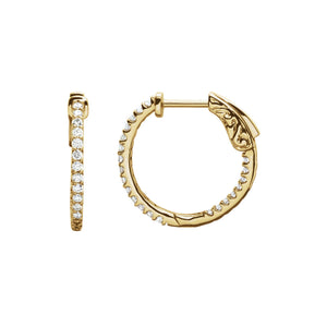 Diamond Earring Hoops, 0.50 Carat Total Weight in 14k White, Yellow or Rose Gold - Talisman Collection Fine Jewelers