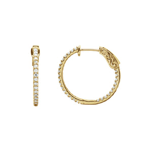 Diamond Earring Hoops, 0.75 Carat Total Weight in 14k White, Yellow or Rose Gold - Talisman Collection Fine Jewelers