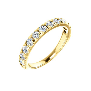 French Set Diamond Anniversary Stack Band in White, Yellow or Rose Gold - Talisman Collection Fine Jewelers