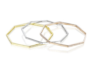 MadStone Rose Gold and White Diamond Hexagon Bangle - Talisman Collection