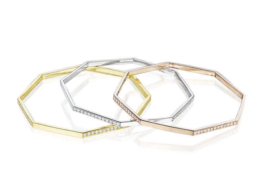 MadStone Yellow Gold and White Diamond Hexagon Bangle - Talisman Collection