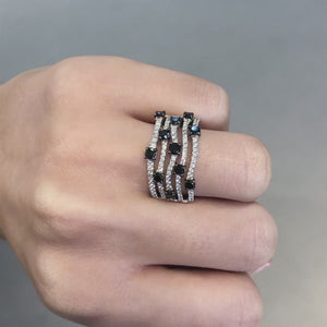 Black and White Diamond Five-Row Band