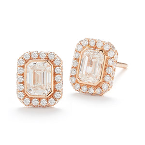 18k Rose Gold Emerald-Cut Diamond Halo Stud Earrings
