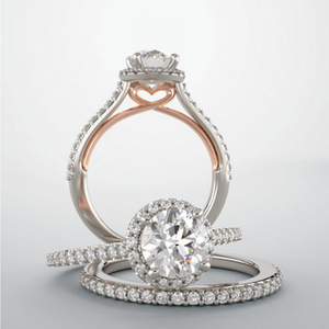 Two-Tone White and Rose Gold Diamond Halo Engagement Ring - Talisman Collection Fine Jewelers
