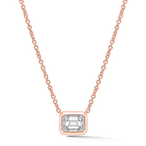 Diamond Necklace, Rose Gold Bezel Set Emerald Cut - Talisman Collection Fine Jewelers