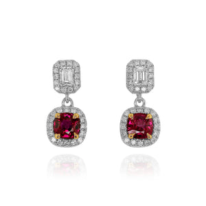 Ruby and Diamond Halo Drop Earrings by Yael - Talisman Collection Fine Jewelers