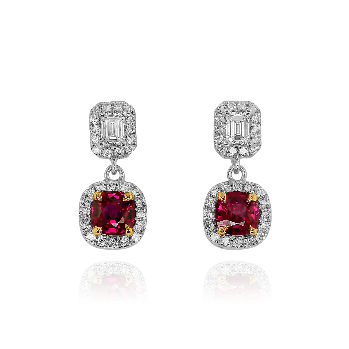 Yael 18k White Gold Ruby and Diamond Earrings
