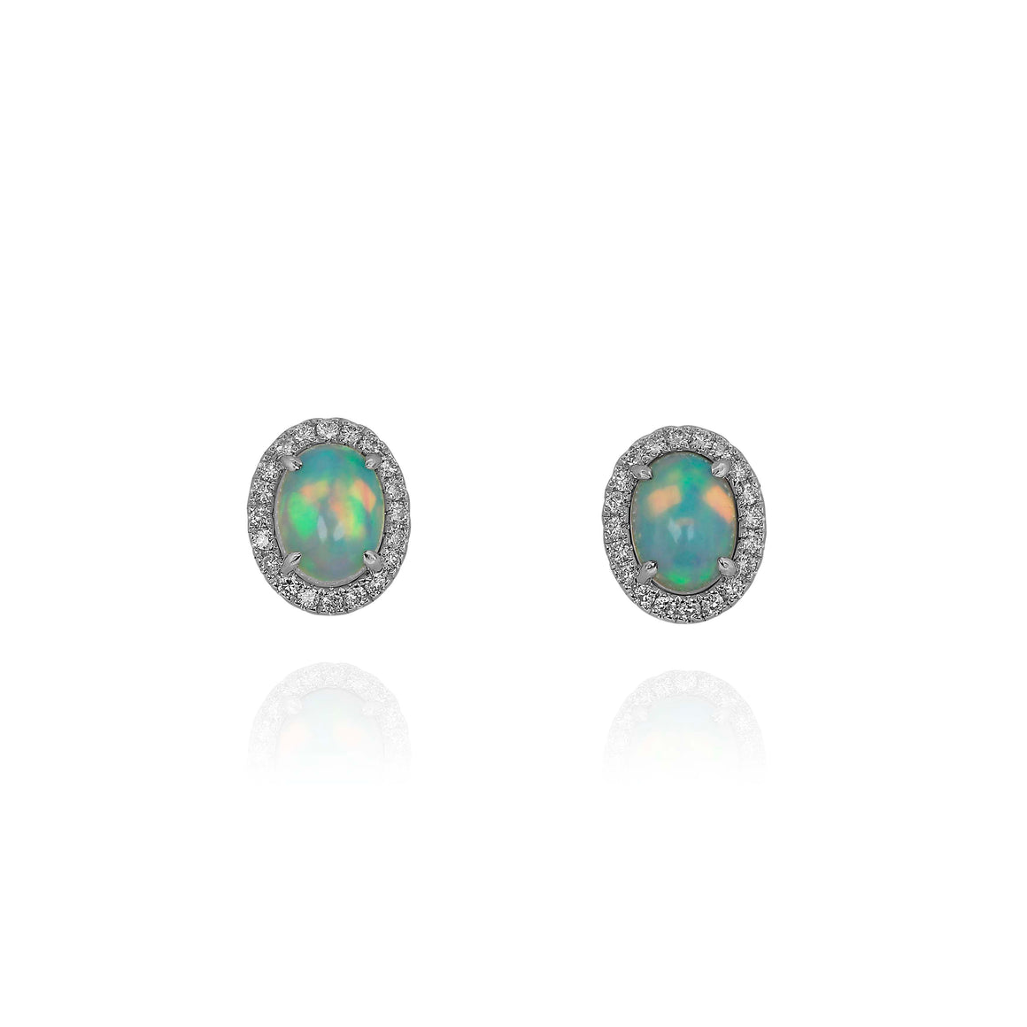 Yael 18k White Gold Opal and Diamond Stud Earrings